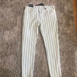 NWT white and blue striped jeans